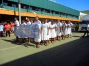 The local nursing school students marching in the Labasa parade.