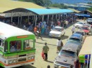 Buses and taxis outside the Labasa market.
