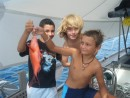 Alexis, Lennard, Jules and a fish with no name