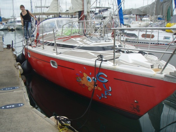 "Laura Dekker on board her ""Guppy"""