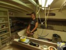 Gail in the Galley/salon Farfarer at Covey Island Boatworks