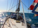 9 knots with Genoa and Mizzen Spinaker in 16 knots of wind going to Durban from Richards Bay