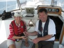 Jeannie & Gerard with the newly polished ships bell