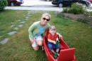 Jeannie & Ben with his Birthday Wagon, a big hit!!!
