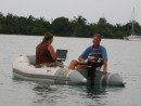 Bruce and Nancy find n internet signal in Placencia.