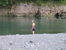 Jeannie set for a dip on the Rio Grande.