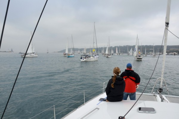 The fleet in the area of the start just outside  San Diego bay.