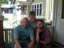 On the front porch with son Bill during the big downsizing sale