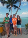 Jeff with the Nebraska babes - Jean, Phoebe, Ciara - on the gulf side at 7 Mile Bridge.