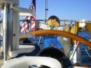 Flat Stan helping out at the helm while we set the anchor