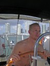 Steve concentrating at the helm on the ICW in Miami