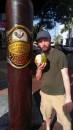 Bill enjoying a coco frio outside one of the many cigar shops on the Calle Ocho.