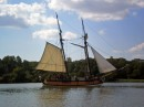 The schooner Sulatana, replica of a 1768 British revenue cutter, was built in Chestertown from original plans obtained from the British. It sails the Chester River and Chesapeake Bay providing history and environmental education programs.