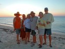 Sunset at the beach with Marathon buddies, Barbara and George from S/V Providence and Tammy and Gerald from S/V Osprey.