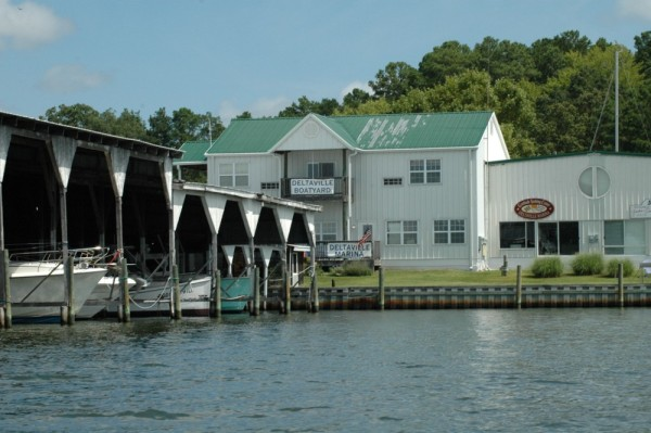 A view of Deltaville Marina from the water coming into Jackson Creek from the bay.