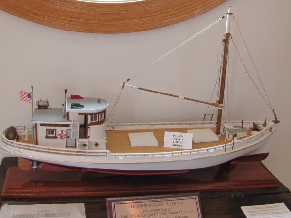 "A model of a Chesapeake Bay buyboat, the F.D. Crockett. The museum reconstructed the Crockett and takes it to events around the bay. It was at a buyboat reunion when we were there. The Chesapeake Bay ""buyboat"" got its name because these large 50-to-100-foot vessels were used to purchase seafood from crabbers, fishermen and oystermen working in smaller workboats, before the days of big engines that allowed watermen to harvest their catch and get back to the dock the same day."