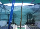 My new, garden netting sun screen. Very cheap and very effective, every liveaboard has it fitted.