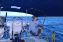 Carl relaxing during the last few miles into Bahia Santa Maria.
