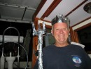 John got to play the role of king Neptune complete with crown and trident (made from our boat hook an aluminum foil.  He is suitably dressed in a Greatful Dead tee shirt