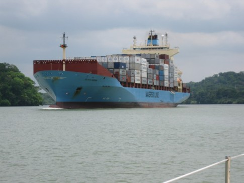 Here is a ship that was built to the Panamax specification.  At 106 feet wide the ship will have 2 feet on each side of it as it locks up or down.  93% of the worlds fleet meets the Panamax specification. and the Canal Authority is taking steps to deal with the post Panamax requirements.
