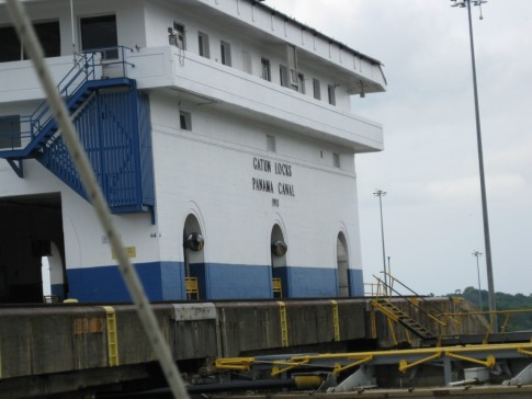 This is the control building for the Gatun locks on the Atlantic side of the canal.  On this side all three locks are together whereas on the pacific side there are two locks at Miraflores and another single lock about a mile away at Pedro Miguel.