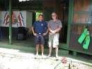 Here is John with Marco the coast guard guy on duty when we arrived.  You may think he is dressed casually but he put on his shorts and shirt for the photo.  Jockey shorts seemed to be the standard uniform of the day at this outpost.