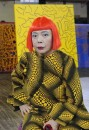 "Yayoi Kusama is an 80 year old Japanese woman who started becoming artistically active in her 70s.  She designs installations of art that cross a variety of materials and styles.  She is featured in a movie called ""Habitual Suicide"" where she speaks about her philosophical views.   Its subtitled.  She does not look 80."