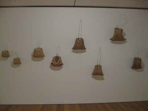 The gallery has an extensive collection of modern works by aboriginal artists.  This photo shows a collection of stylized baskets that were derived from baskets that aboriginal people carried on the backs of their heads.  Like the other exhibits in the gallery, the display was minimalist is concept so the viewer
