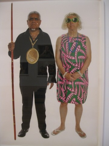 "This is a photo in the Sourris collection that really amused us.  Its called Australian Gothic and is an obvious spoof on the Norman Rockwell ""American Gothic"" but at the same time pokes fun at some Australian idiosyncrasies."