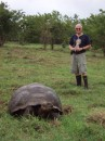 Here is John with one of the giant tortoises.  Please note the extremely stylish boots provided by the tourist operation for use when stomping around out in the field with the tortoises.