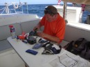 Rebuilding the halyard rope clutches.