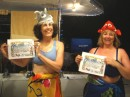 Veronica and Donna with Certificate of accomplishment for crossing the equator