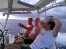 Relaxing at sea.  Thank god for autopilots, hand steering for 6 days would be a bummer.