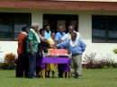 Local politicians looking flash at the Independence Day celebrations - cutting the 30th birthday cake