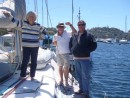 "John with our good friends Lynn and Mike on board ""Wombat"" at Northbridge Marina"