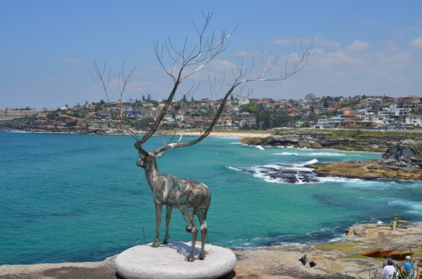 Looking out to Tamarama and Bronte Beaches on the Sculpture Walk