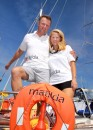 Another id shot of Heather and Jonathan aboard matilda before the start of the World ARC