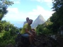 Jonathan & Heather at halfway point, about an hour in, with the Petit Piton in the background - we will climb that in 2013