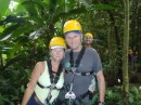 Jonathan and Heather kitted up for the Rainforest Canopy zip-wire tour - it was brilliant - that