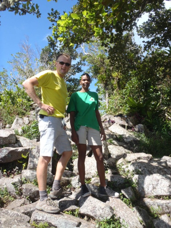On the summit with our guide, Christine.  She does this for a living and has climbed the Piton at least 5 times each week for the last 12 years!