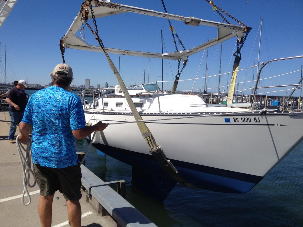 Launch Day at South Shore Yacht Club: Biggest challenge before launch was taking off the VC17 to prepare for salt-water proof bottom paint.