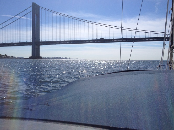 Goodbye New York. Our first look at the Atlantic as we cross under the Verrazano Narrows Bridge