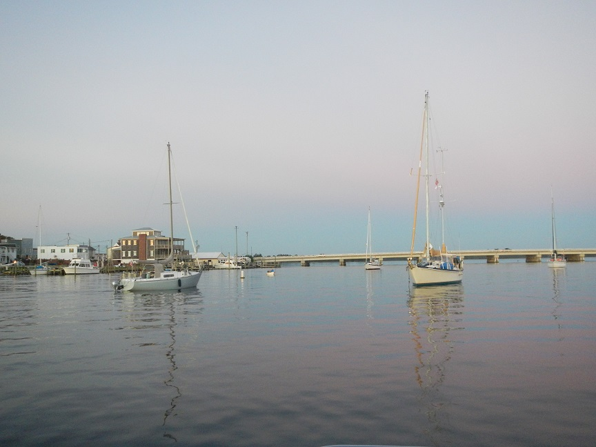 Swansboro, NC town anchorage: This was a small anchorage in an area right before a bridge with a pretty strong current.  We woke in the morning to the sight of a 40