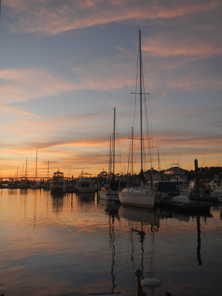 Southport NC: There were few anchorages this side of the Cape Fear River, so we stayed in a secure marina.