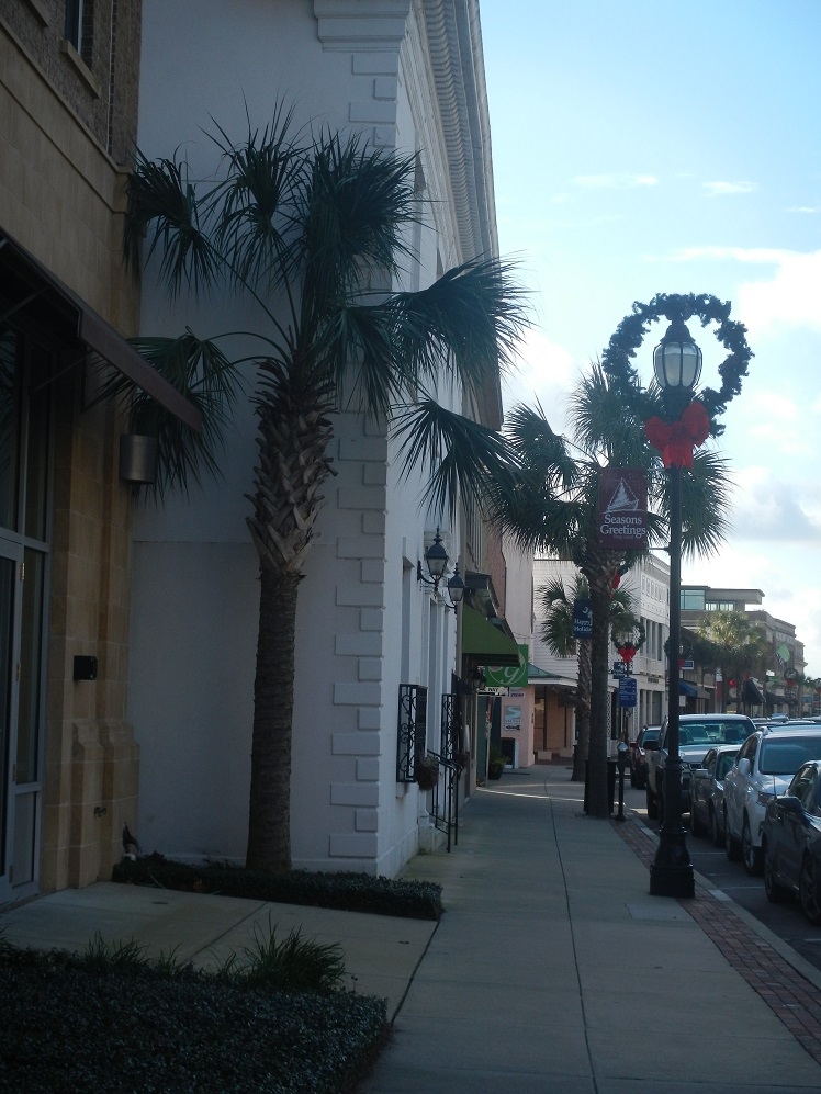 Christmas in the South: Beaufort NC main street holiday decorations seem so out of place with temps in the high 70s and no snow!  It amazed me that most of the stores were full of fall/winter merchandise, including boots, in a climate where it isn