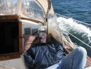The Capt. Snoozing On Our Way Up Mass Bay