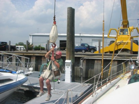 Rigger In Branford Marina Checking To Make Sure The Main Halyard Had Not Jumped The Sheave