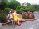 Ken and Ronald in the garden at McDonalds, Antigua
