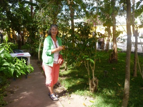 Fran in the school garden, this where we had our classes