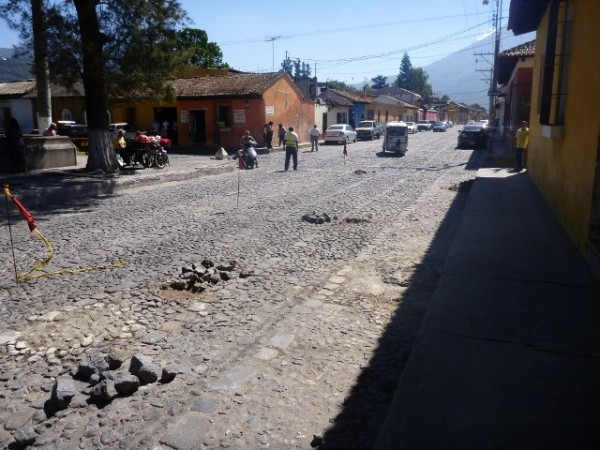 Road work in Antigua, cobble stone streets